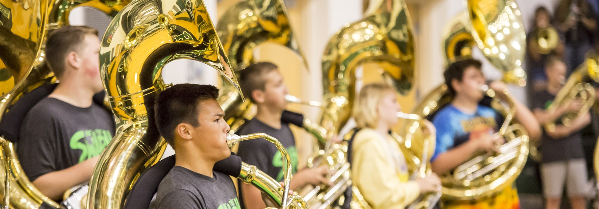 Students Playing the Tuba Section