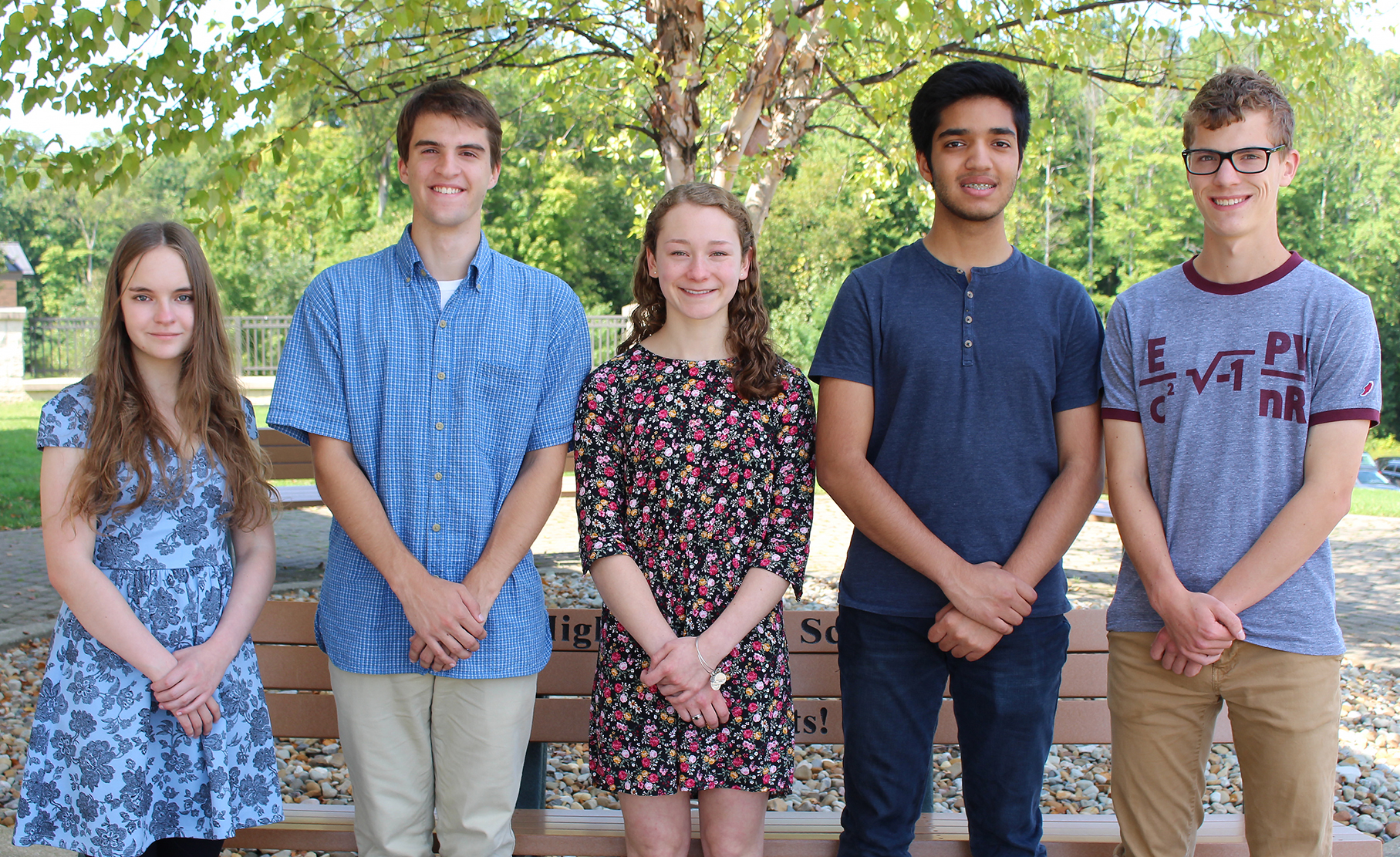 Pictured from left are Lorelyn Nolte, Quade Mainzer, Margaret Knyszek, Abdullah Ali and Christopher Sollenberger.